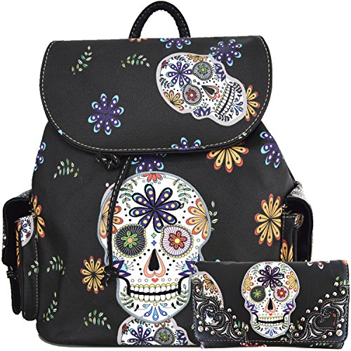 Sugar Skull Day of the Dead Daypack Concealed Carry Backpack Fashion Women Travel Biker Purse Wallet Set (Black Set)