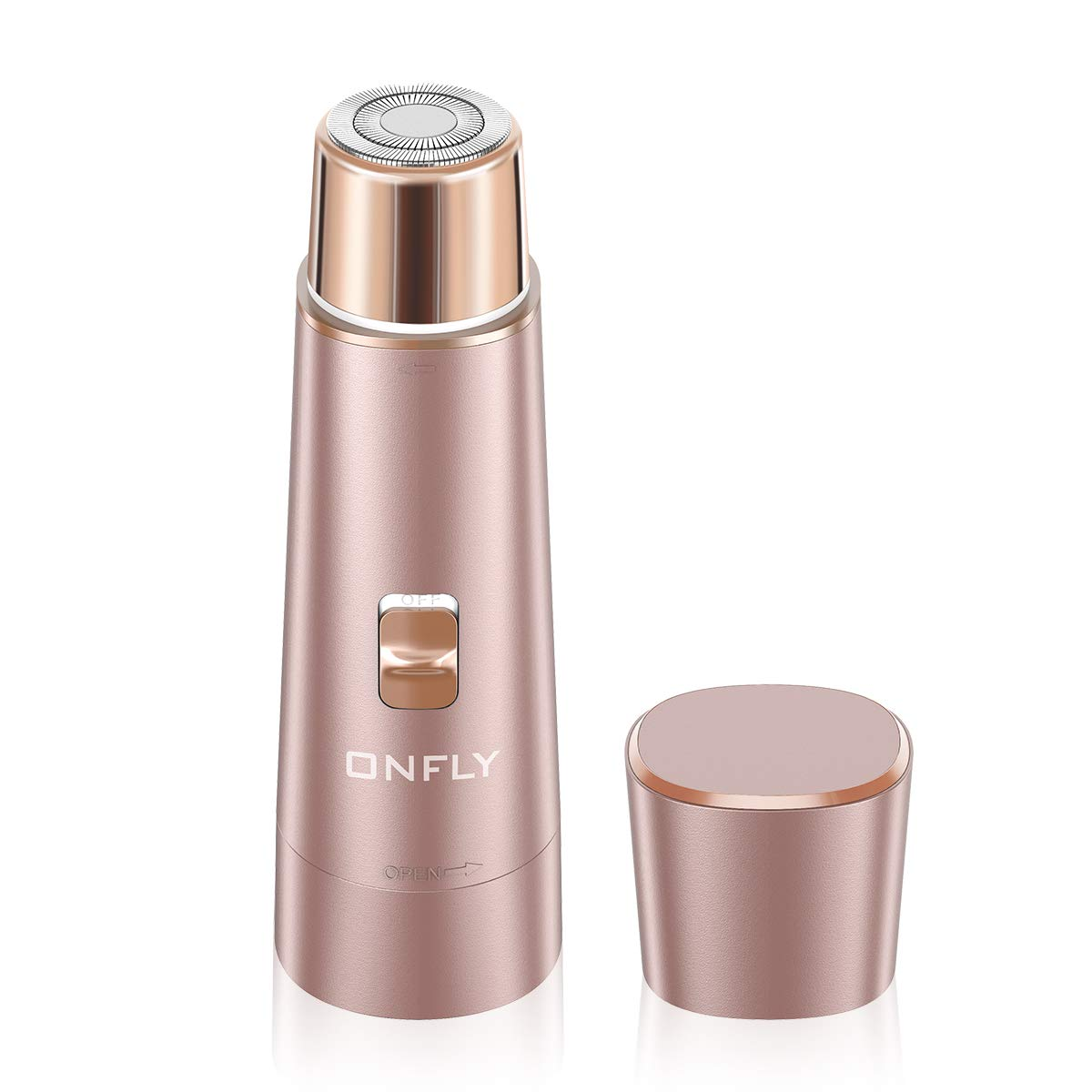 Facial Hair Removal for Women, ONFLY USB Rechargeable Waterproof Hair Remover Electric Shaver Razor for Peach (Rose Gold) by ONFLY