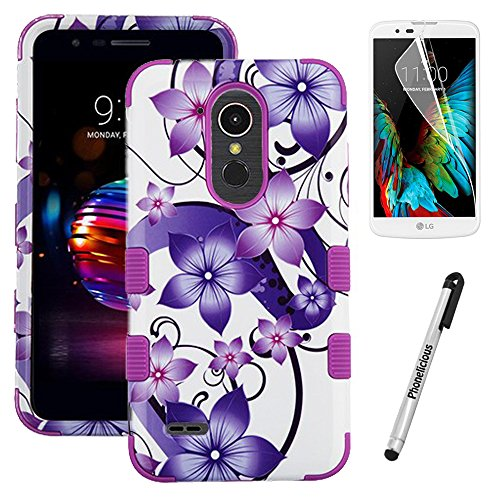 Phonelicious Phone Cover for LG K30/LG PREMIER PRO 4G LTE/L413DL/L413DG Case Military Grade Drop Tested with Clear Screen Protector and Stylus (Purple Hibiscus) 4g Protector Case Cover