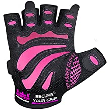 Women Gym Gloves Protect Your Hands & Improve Your Grip - Pink & Black Weightlifting Gloves - Easy to Pull On & Off - Adjustable Fit