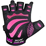 Women Gym Gloves Protect Your Hands & Improve Your Grip - Pink & Black Weightlifting Gloves - Easy to Pull On & Off - Adjustable Fit (Pink, Medium)
