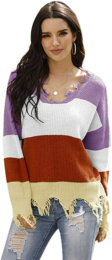 Eoeth Women Casual Striped V-Neck Long Sleeve Irregularity Knit Top Blouse Sweater Pullover