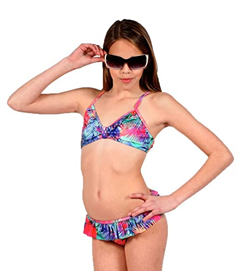 O'Neill Big Girls Sun Ruffle Bikini in Chase the Sun, Purple Bikini Suit for teen