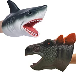 Odowalker Hand Puppet Toys, Dinosaur and Wolf Head Hand Puppet Set Soft Rubber Shark Puppets Role Play Role Play Toys for Kids