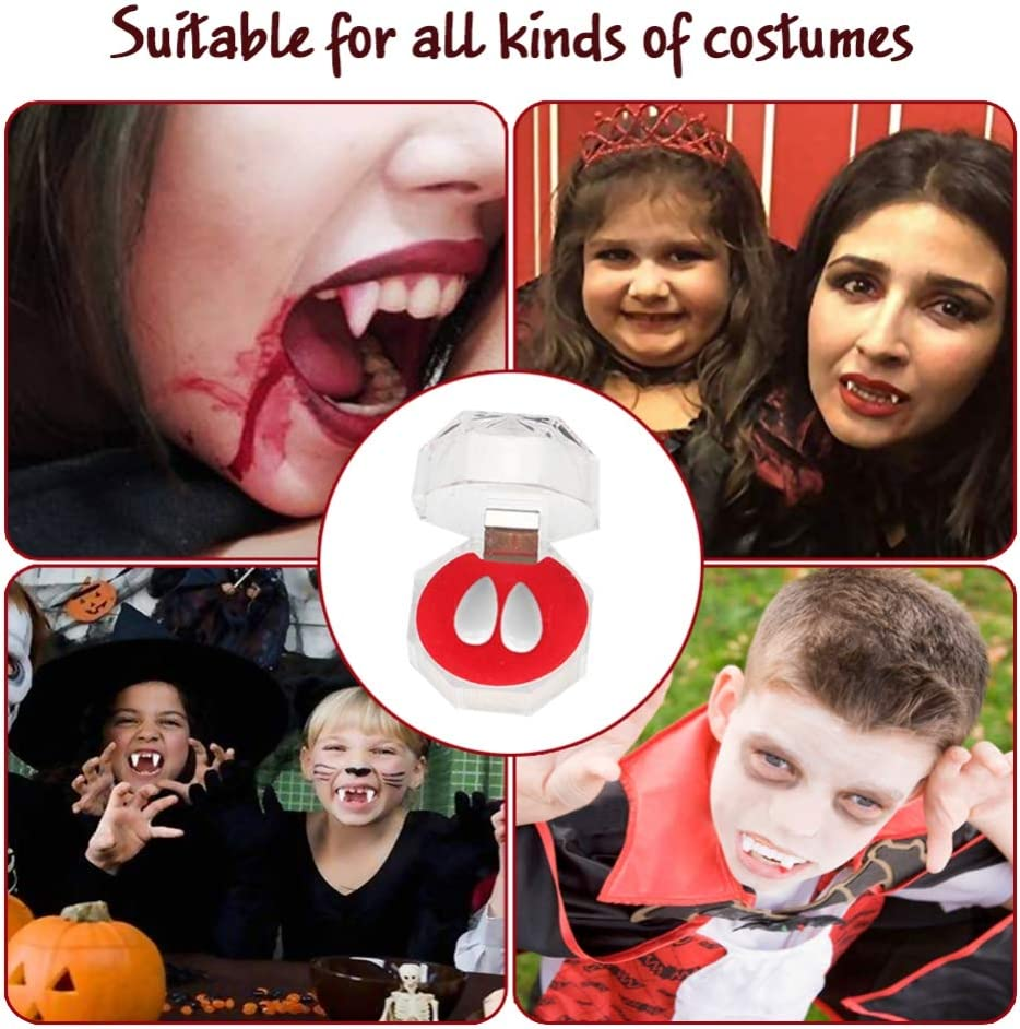 8 pcs Fake Blood Capsules for Cosplay Halloween Costume Party Favors by Oclot 4 pcs Vampire Denture Teeth Boxes Vampire Teeth Kit