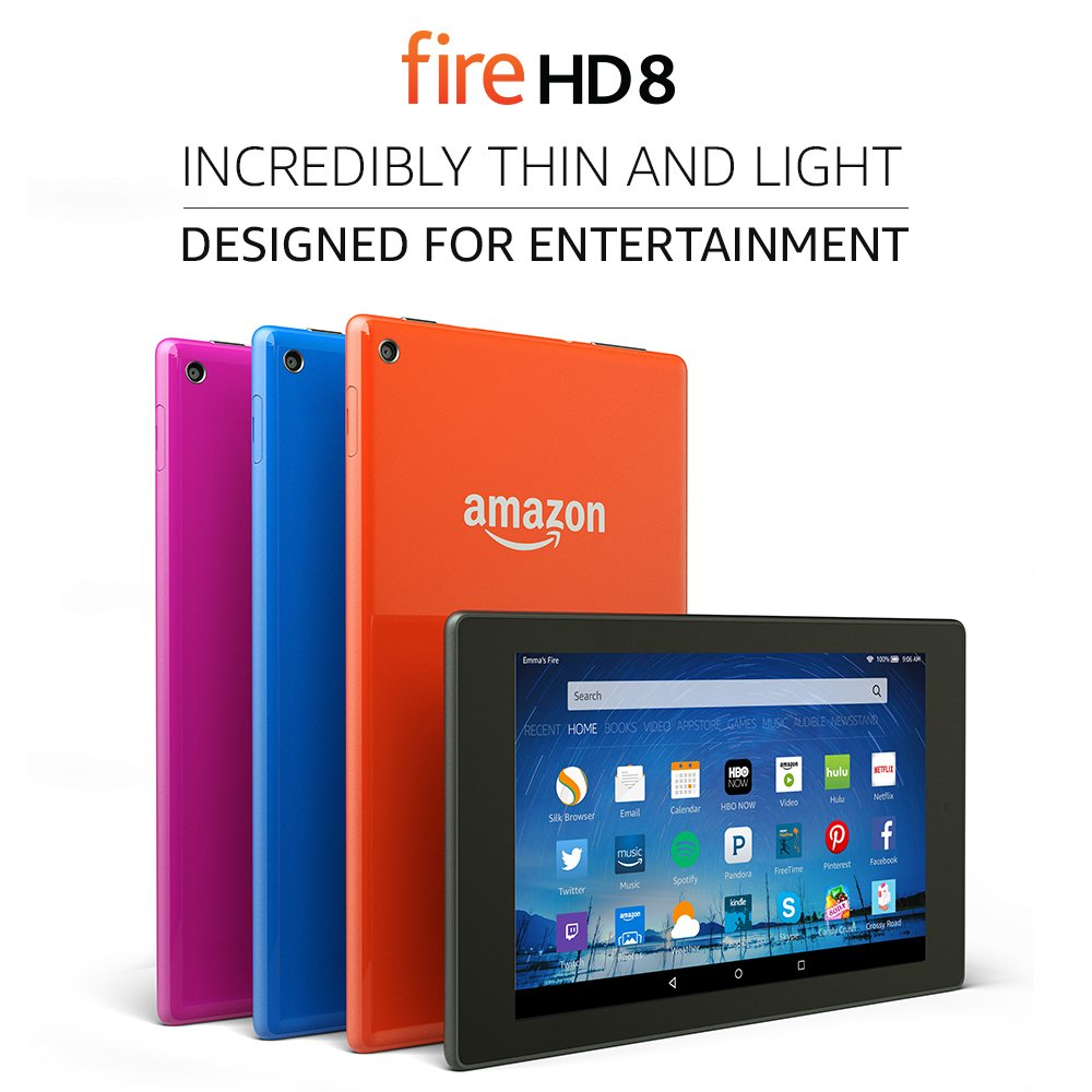 "Fire HD 8 Tablet, 8"" HD Display, Wi-Fi, 16 GB - Includes Special Offers, Magenta (Previous Generation - 5th)"