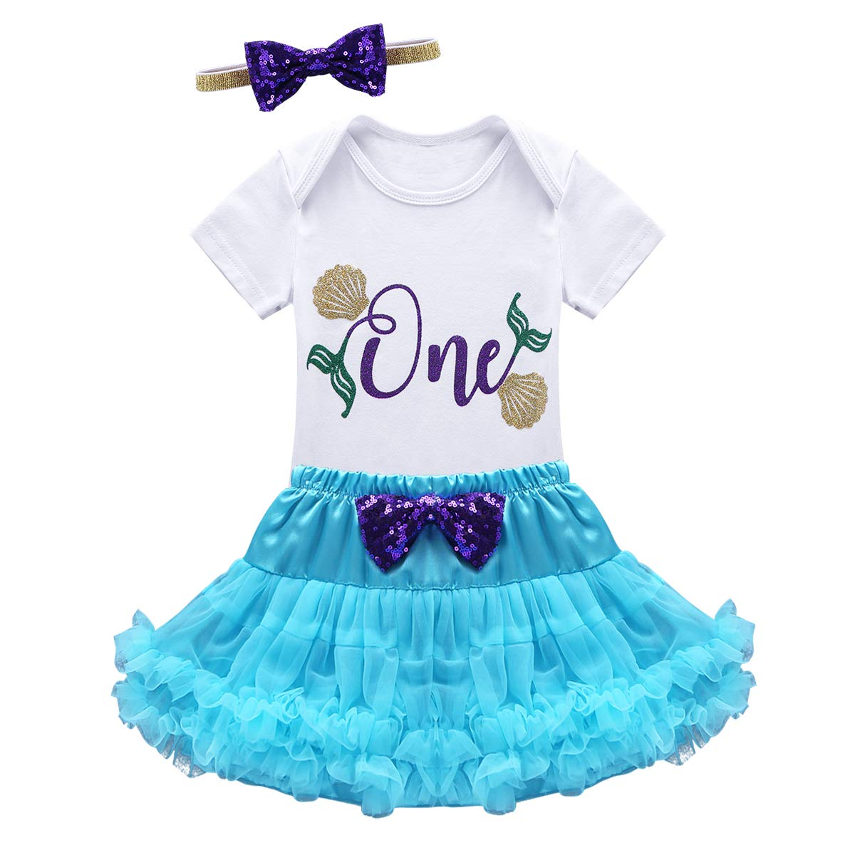 dPois Infant Baby Girls 1st//2nd Birthday Party Mermaid 3Pcs Outfit Short Sleeves Romper with Tutu Skirt Headband Set