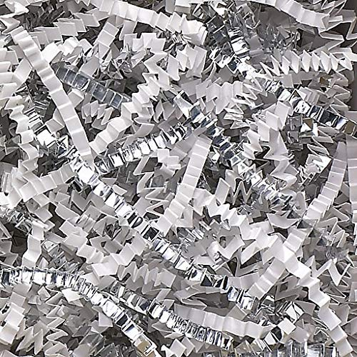 Crinkle Cut Paper Shred Filler (1 LB) for Gift Wrapping & Basket Filling - White & Silver | MagicWater Supply