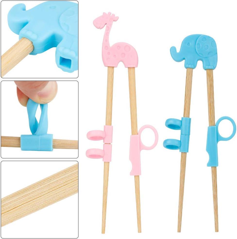 Gobesty Palillos de entrenamiento para ni/ños Palillos reutilizables para ni/ños con caja de almacenamiento transparente para ni/ños principiantes 4 pares Ayudante de entrenamiento de palillos