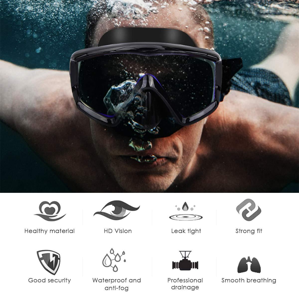11 OhhGo m/áscara de Buceo Snorkel antifugas m/áscara de Buceo Gafas de Buceo Profesionales para Hombres Mujeres Snorkeling Cuba Diving Freediving 9.2 4.5cm