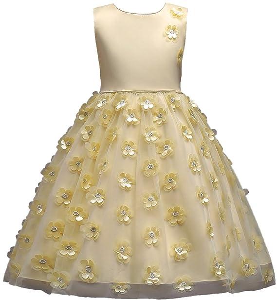 Shiny Toddler Vestido de Fiesta peagant para Chicas 7 a 8 Amarillo: Amazon.es: Ropa y accesorios