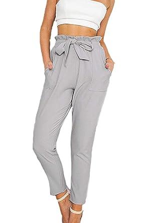 Pantalon De Loisirs Femme Elégante Slim Fit Taille Haute Pantalon Ete  Décontracté Fashion Confortable Couleur Unie Trousers Basic Pantalons pour  Femme avec ... d97dc18f523b