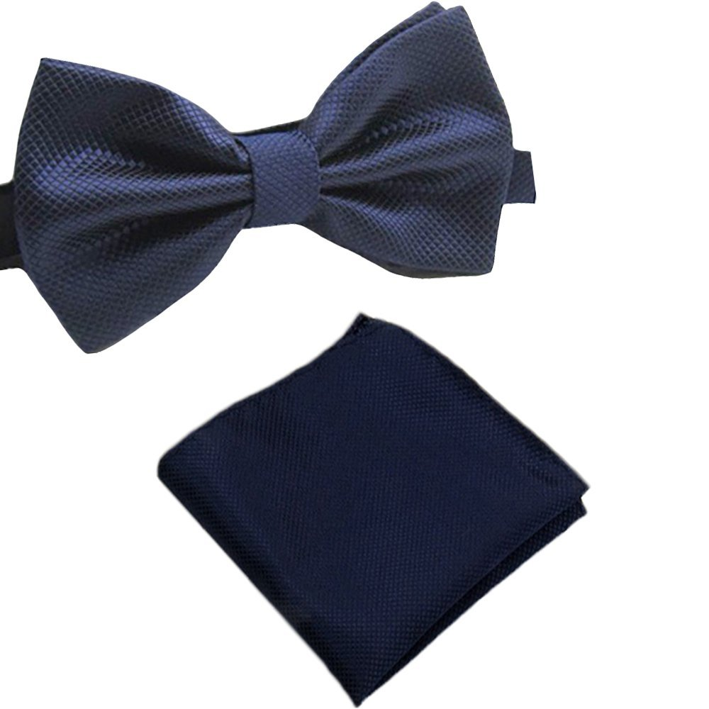 Baby Blue, 5 Solid Matching Pre-Tied Bow Tie and Pocket Square Sets for Formal Events
