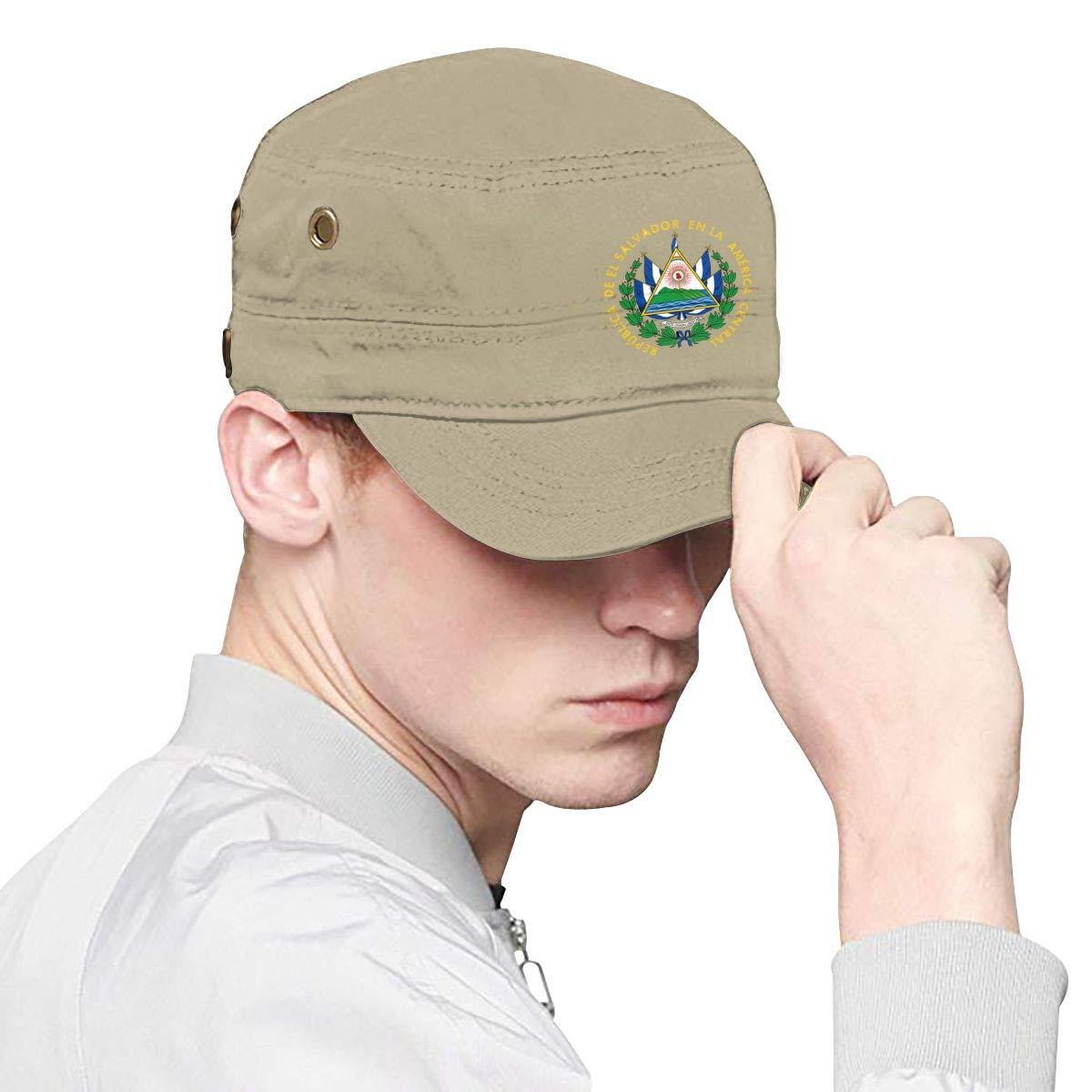 El Salvador Flag Unisex Adult Cotton Military Army Cap Flat Top Hat