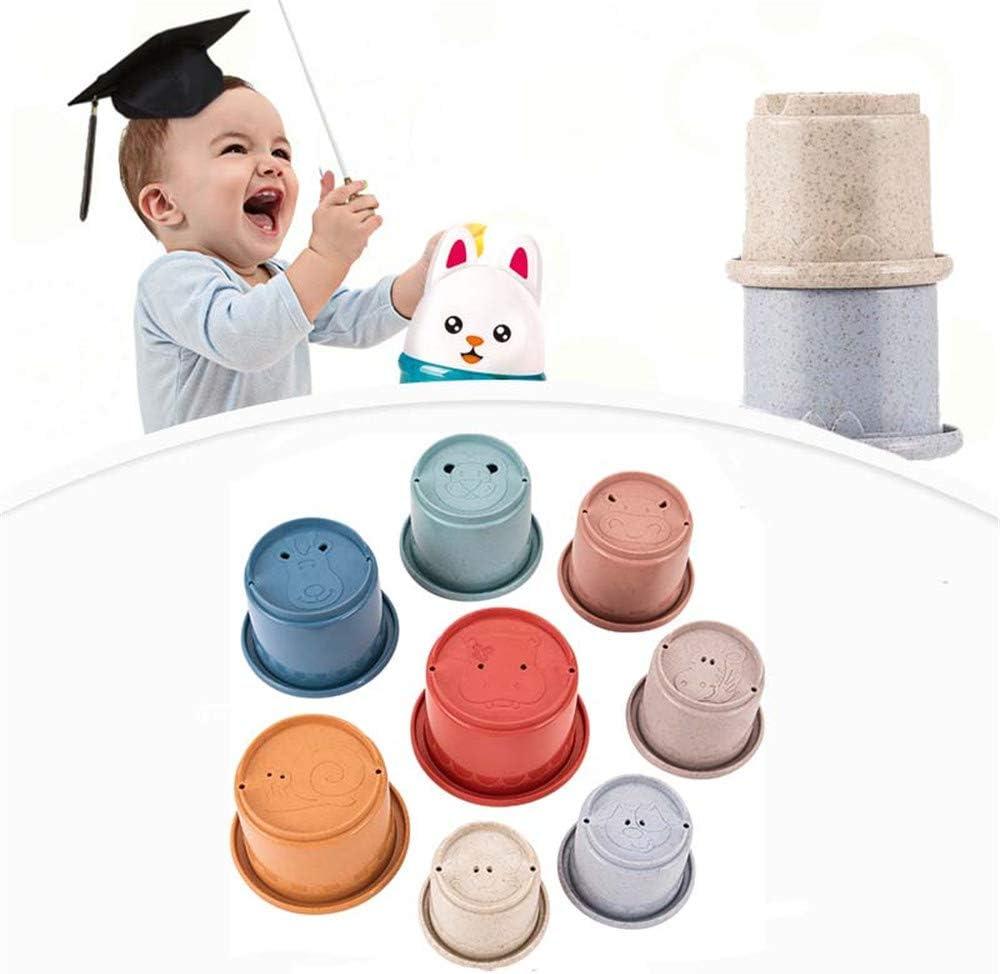 8 Tassen Spa/ß Farbe Nistbecher Fr/ühp/ädagogische Kleinkinder Spielzeug Badewanne Spielzeug f/ür Kinder Baby Shenjia Kleinkind Bad Stapelbecher f/ür Baby und Kinder