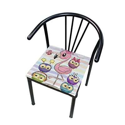 Bardic FICOO Home Patio Chair Cushion Flamingo Colorful Owl Stripe Square Cushion Non-Slip Memory Foam Outdoor Seat Cushion, 16x16 Inch: Home & Kitchen
