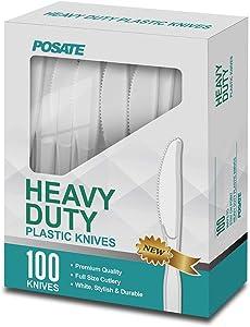 White Plastic Knives, Heavyweight, 100 Packs