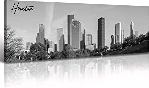 DJSYLIFE Houston Skyline Wall Art Canvas Print Black and White Panoramic Cityscape Picture Decoration for Bedroom Office Home Decor Framed and Ready to Hang, 13.8