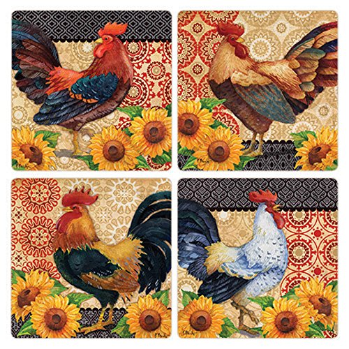 CoasterStone Roosters and Sunflowers Absorbent Coasters (Set of 4), 4-1/4