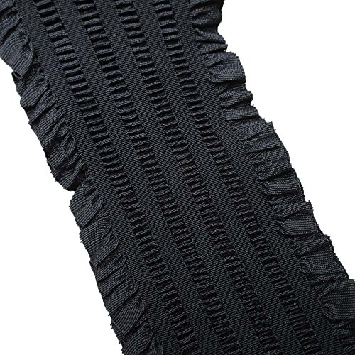 Lace Band Chantilly (Elastic Stretch Ruffled Lace Double Ruffle Ribbon Pack of 5 Yards (4 Inch, Black))