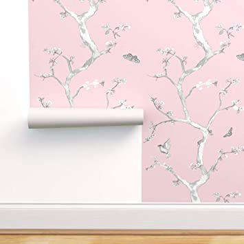 Spoonflower Peel And Stick Removable Wallpaper Chinoiserie Baby Pink Flower Tree Bird Butterfly Print Self Adhesive Wallpaper 24in X 108in Roll Amazon Com