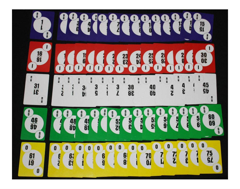 Bingo Paper Cards 1-75 Numbered Calling Card Deck no Balls