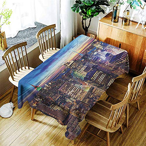 VIVIDX Small Rectangular Tablecloth,City,Party Decorations Table Cover Cloth,W60X102L Tan Navy Blue Aqua