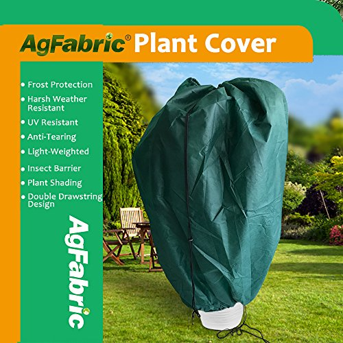 "Agfabric Plant Cover Warm Worth Frost Blanket – 1.5 oz 36""x48"" Shrub Jacket,3D Dome Plant Cover with Double Drawstrings for Season Extension&Frost Protection,Dark Green"