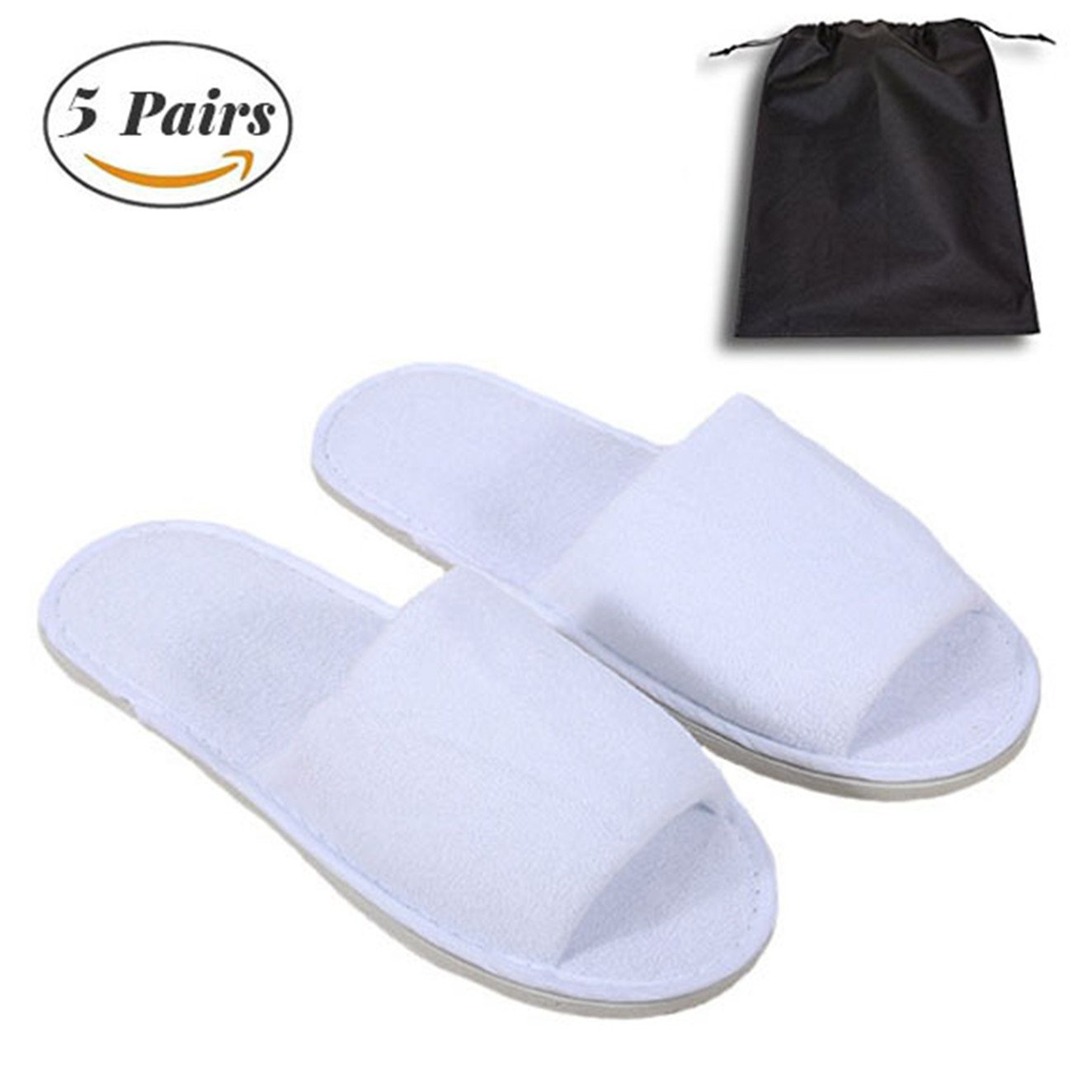 Spa Slipper- 5 Pairs of Velvet Open Toe Slippers with Travel Bags- One Size Fit Most Men and Women for Spa, Party Guest, Hotel and Travel, Washable and Non-Disposable
