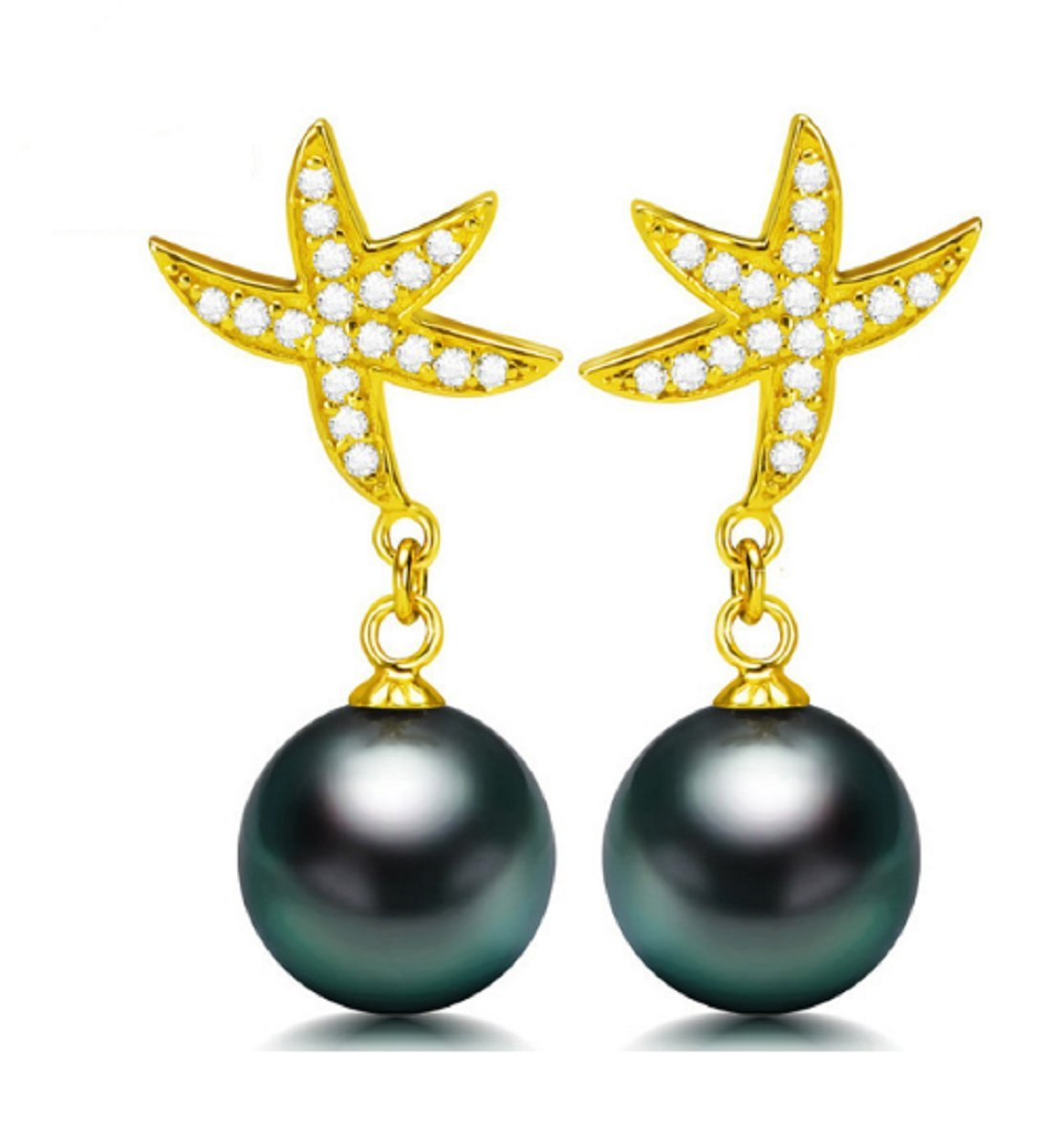 GOWE Glass Design Drop Earring 10-11mm Natural Tahitian Pearl Drop Earrings by GOWE