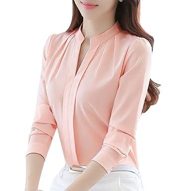 e744562a8003e2 Hibote Women Long Sleeve Blouse - Fashion Slim Fit Chiffon Shirt Elegant  Solid Color V Collar