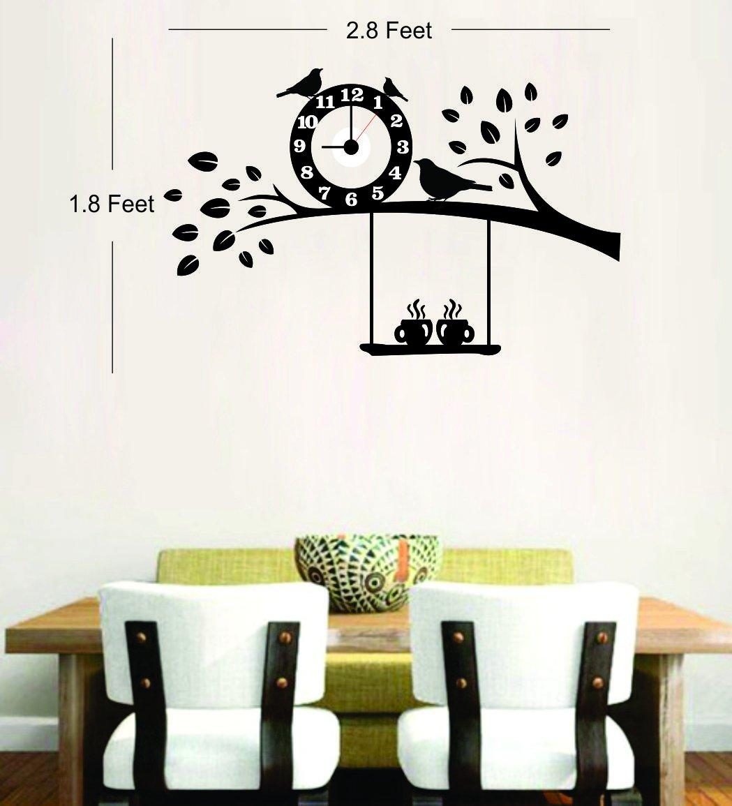 buy syga black tree and bird pvc vinyl wall clock 35 cm x 17 cm x buy syga black tree and bird pvc vinyl wall clock 35 cm x 17 cm x 5 cm online at low prices in india amazon in