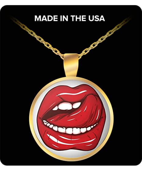 Sexy Red Lip Stick Licking Lips Gold Plated Necklace Sexy Open Mouth Womans Lips Gift