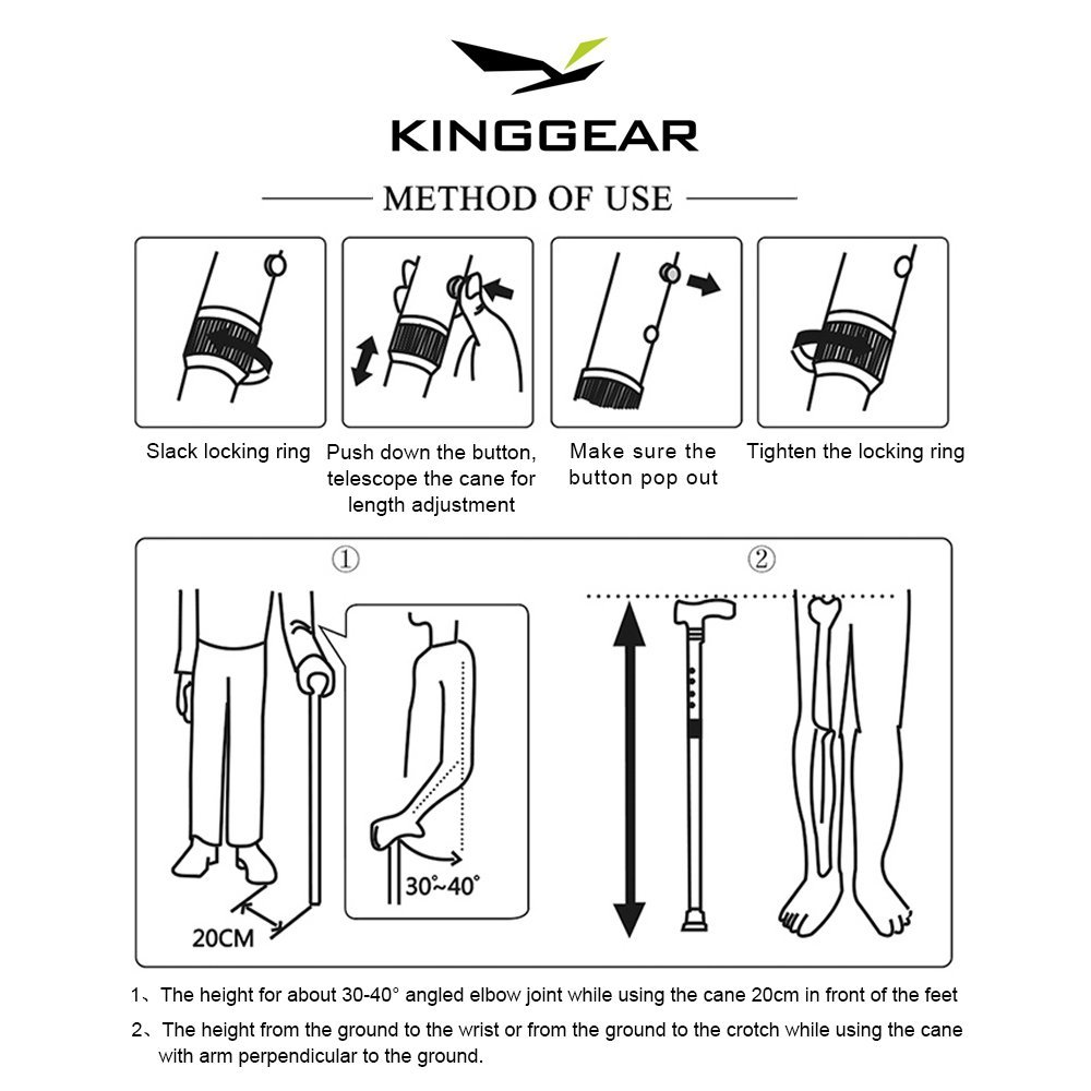 KingGear Adjustable Cane for Men & Women - Lightweight & Sturdy Offset Walking Stick - Mobility Aid for Elderly, Seniors & Handicap (Blue) by KINGGEAR (Image #7)