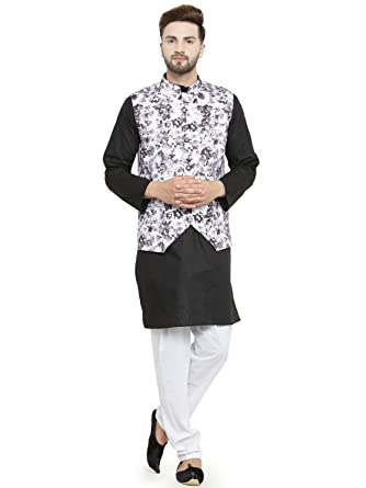 d0523a70343 Luxurazi Men s Cotton pathan Suit Kurta Pyjama with Waist Coat  (16-kurtajacketset Black 38-Regular