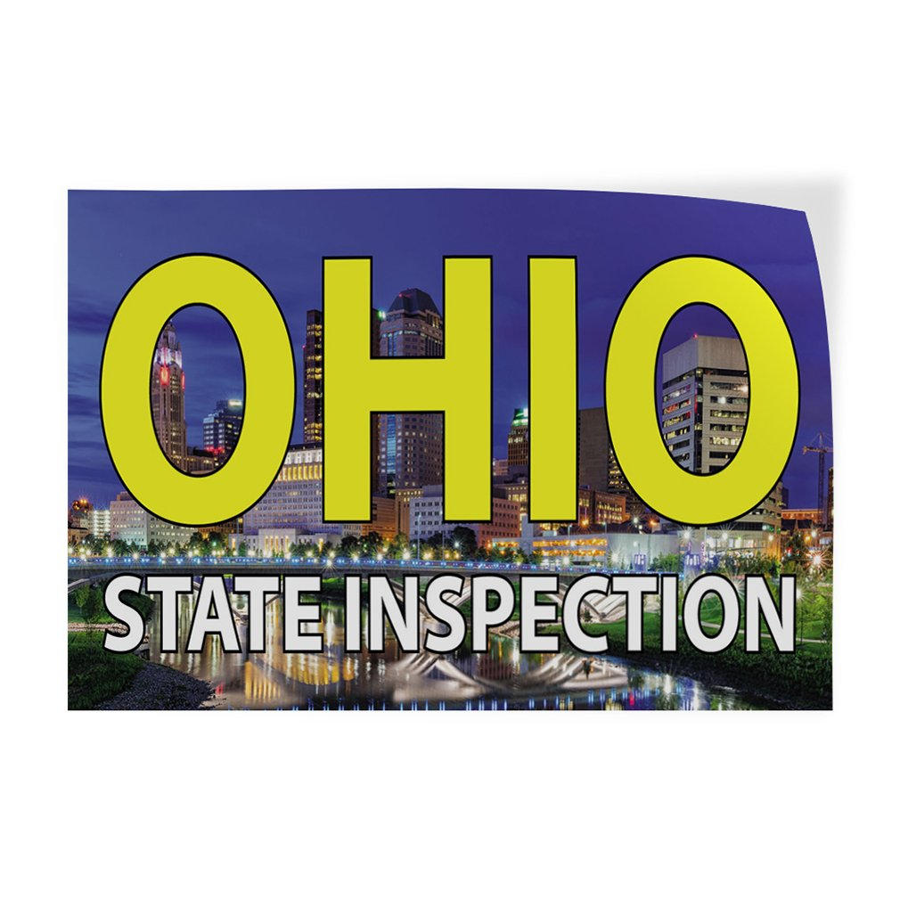 34inx22in Decal Sticker Multiple Sizes Oklahoma State Inspection Business Oklahoma State Outdoor Store Sign Blue Set of 10