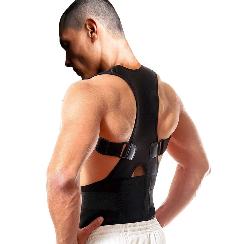 Back Brace Posture Corrector Fully Adjustable Support Belt Improves Posture And Provides Lumbar Back Brace Lower And Upper Back Pain Relief Upright Go Posture For Men And Women (L (32.3''- 37.4''waist))