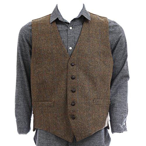 (Men's Irish Tweed Vest Brown Herringbone Wool Full Back Made in Ireland Medium)