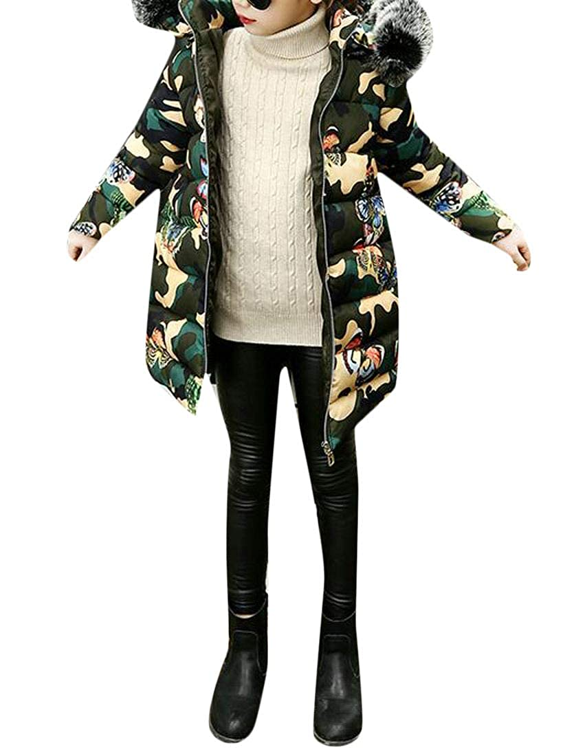 Pandapang Girls Coat Cotton-Padded Hoodie Cute Quilted Parkas Coat