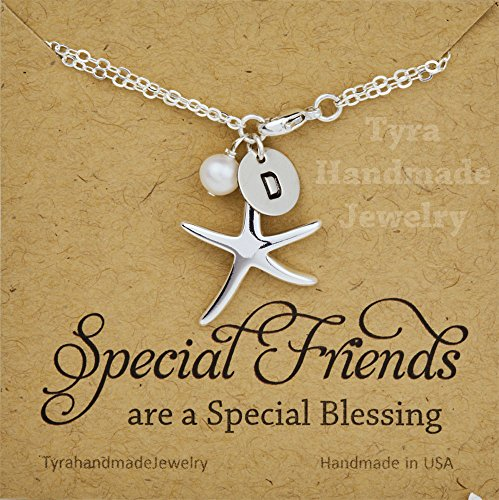 Starfish initial Pearl bracelet,Birthday gift,Bridal jewelry,beach wedding jewelry,ocean theme bracelet,best friend gift,custom note card - Pearl Initial Bracelet