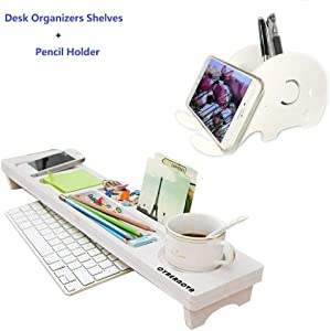 CYBERNOVA Desk Organiser Office Small Objects Storage Keyboard Commodity Shelf and Pencil Holder Cell Phone Stand,Desk Multifunctional Stationery Organizer