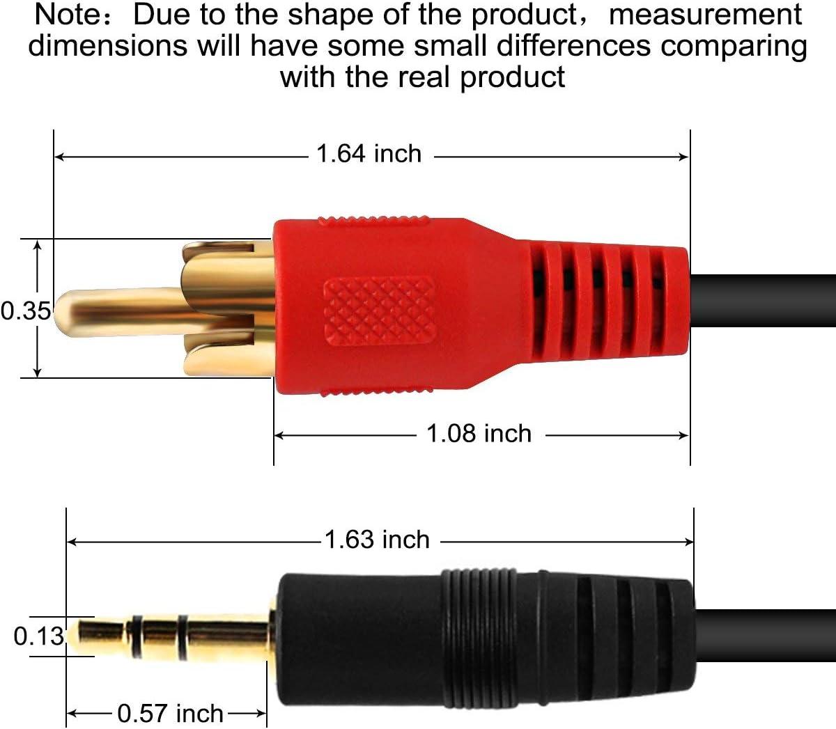 Cable de audio est/éreo clavija jack 3,5 mm a 2 x RCA, 3 m