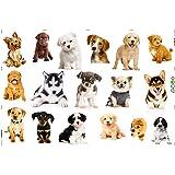 Takarafune ウォールステッカー 犬 装飾壁紙シール インテリア 動物シール 3D犬 ウォールペーパー