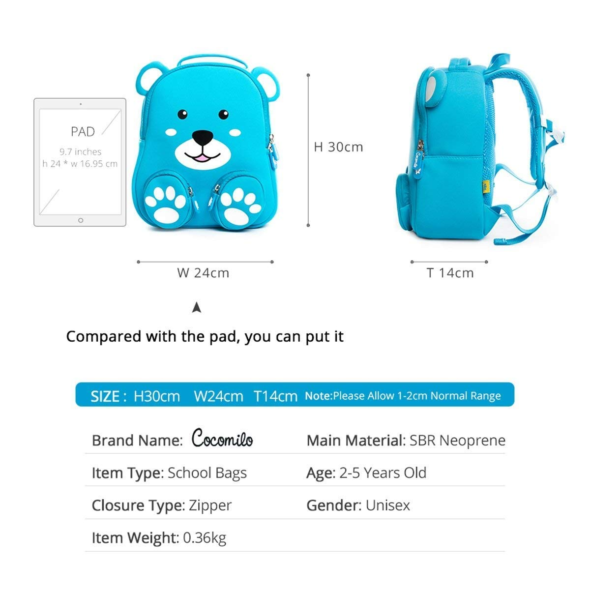 9eb2b9798c52 Kids Book Backpack Toddler Children School Bag Zoo Lunch Bag 3D Cute Animal  Design Preschool Rucksack with Reins by Cocomilo(Bear)  Amazon.co.uk   Luggage