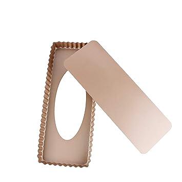 webake Plat à Quiche Moule à Tarte avec Fond Amovible en Acier Golden  Couleur rectangulaire revêtement 9d66c5ff6d8d