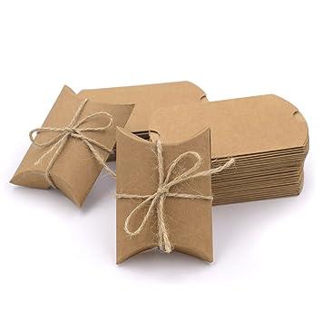 Hondex Cajas de Regalo 50 Piezas de Kraft Vintage Vintage Almohada Natural Cajas de Caramelo Parael Banquete de Boda: Amazon.es: Juguetes y juegos