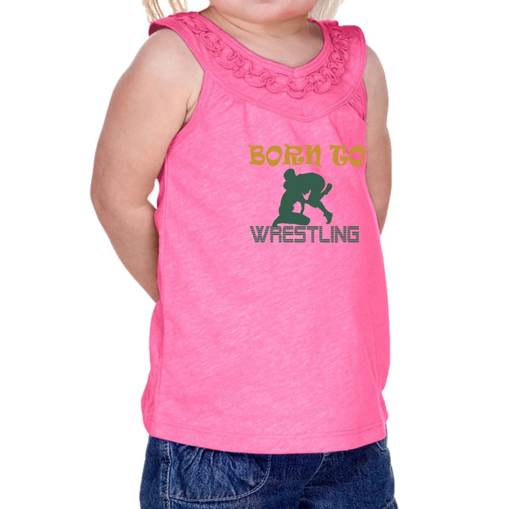 Cute Rascals Born to Wrestling Sport 60/40 Cotton/Polyester Tank Ruffle Neck Girl Infant Jersey Tee Yoke - Hot Pink, 18 Months by Cute Rascals