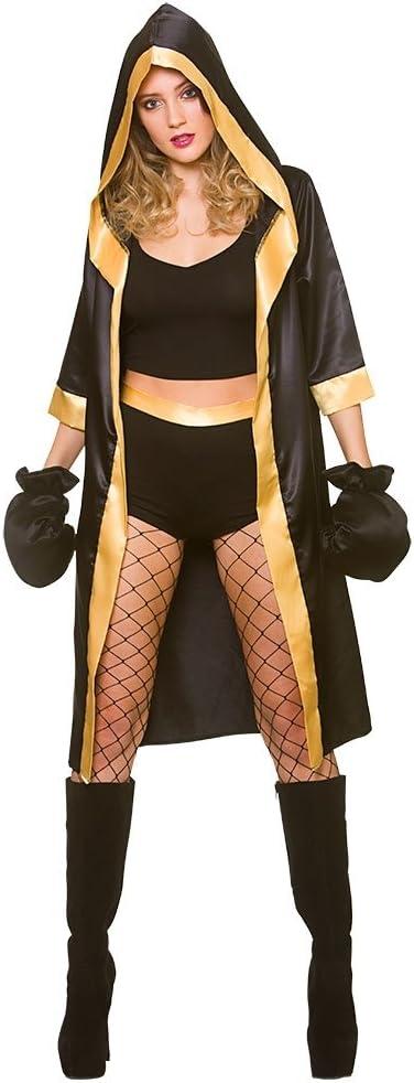 Wicked Costumes Disfraz de Boxeador Mujer Adulta Negra / Oro Sexy ...