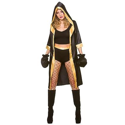 Wicked Costumes Disfraz de boxeador Mujer adulta negra/oro sexy knockout (talla medio 42-44)