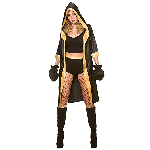 Wicked Costumes Disfraz de boxeador Mujer adulta negra/oro sexy knockout (talla x-pequeña 34-36): Amazon.es: Juguetes y juegos